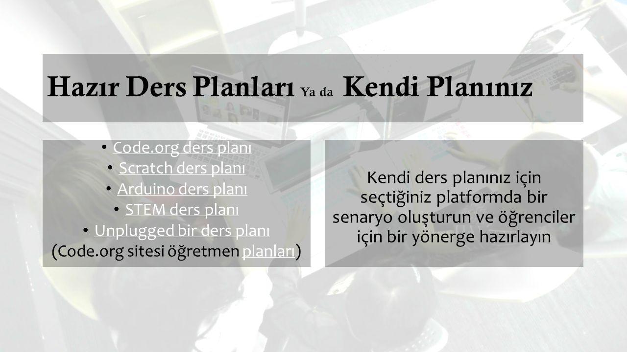 Hazır Ders Planları Ya da Kendi Planınız Code.org ders planı Scratch ders planı Arduino ders planı STEM ders planı Unplugged bir ders planı (Code.org sitesi öğretmen planları)planları Kendi ders planınız için seçtiğiniz platformda bir senaryo oluşturun ve öğrenciler için bir yönerge hazırlayın