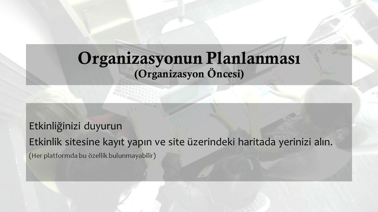 Organizasyonun Planlanması (Organizasyon Öncesi) Etkinliğinizi duyurun Etkinlik sitesine kayıt yapın ve site üzerindeki haritada yerinizi alın.