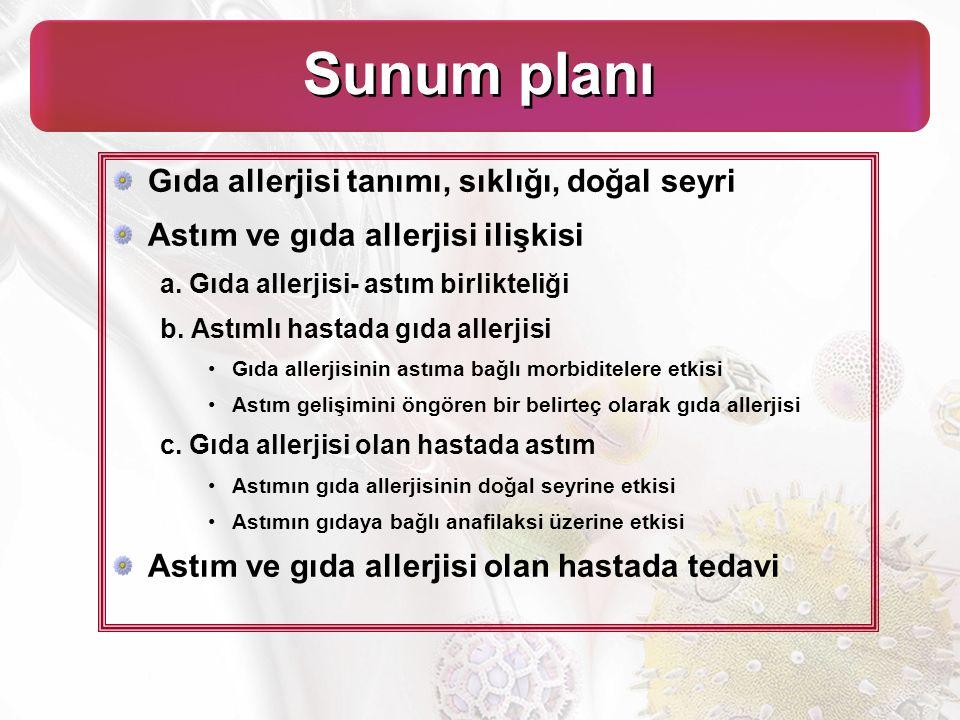 Sunum planı Gıda allerjisi tanımı, sıklığı, doğal seyri Astım ve gıda allerjisi ilişkisi a.