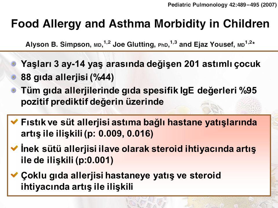 Yaşları 3 ay-14 yaş arasında değişen 201 astımlı çocuk 88 gıda allerjisi (%44) Tüm gıda allerjilerinde gıda spesifik IgE değerleri %95 pozitif prediktif değerin üzerinde Fıstık ve süt allerjisi astıma bağlı hastane yatışlarında artış ile ilişkili (p: 0.009, 0.016) İnek sütü allerjisi ilave olarak steroid ihtiyacında artış ile de ilişkili (p:0.001) Çoklu gıda allerjisi hastaneye yatış ve steroid ihtiyacında artış ile ilişkili