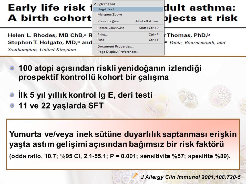 100 atopi açısından riskli yenidoğanın izlendiği prospektif kontrollü kohort bir çalışma İlk 5 yıl yıllık kontrol Ig E, deri testi 11 ve 22 yaşlarda SFT Yumurta ve/veya inek sütüne duyarlılık saptanması erişkin yaşta astım gelişimi açısından bağımsız bir risk faktörü (odds ratio, 10.7; %95 CI, 2.1-55.1; P = 0.001; sensitivite %57; spesifite %89).