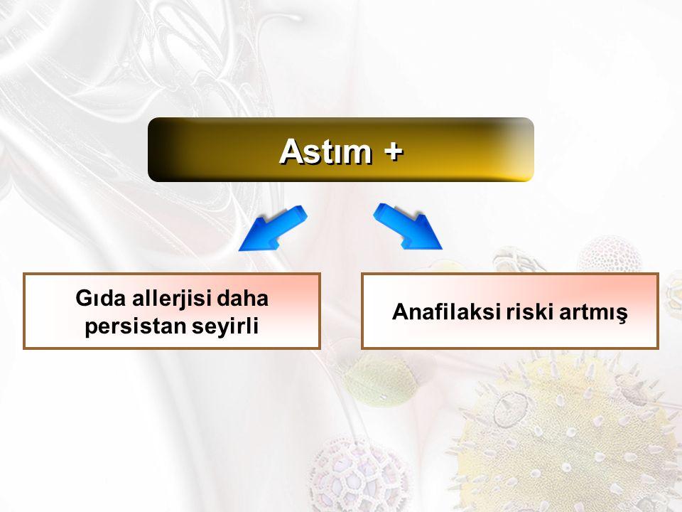 Astım + Gıda allerjisi daha persistan seyirli Anafilaksi riski artmış