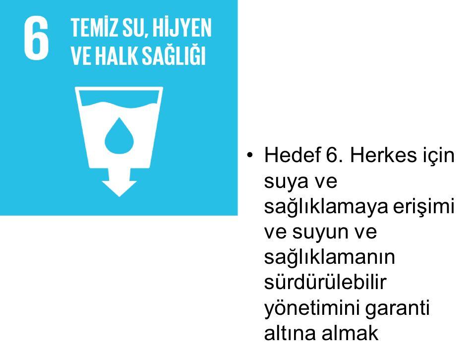 Hedef 6. Herkes için suya ve sağlıklamaya erişimi ve suyun ve sağlıklamanın sürdürülebilir yönetimini garanti altına almak