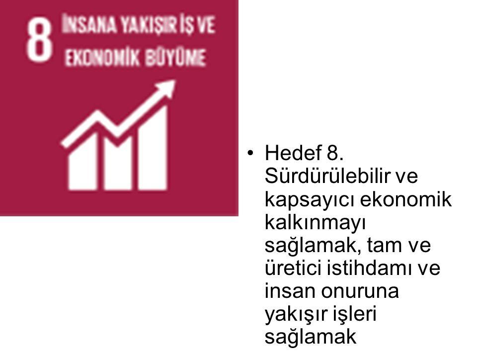 Hedef 8. Sürdürülebilir ve kapsayıcı ekonomik kalkınmayı sağlamak, tam ve üretici istihdamı ve insan onuruna yakışır işleri sağlamak