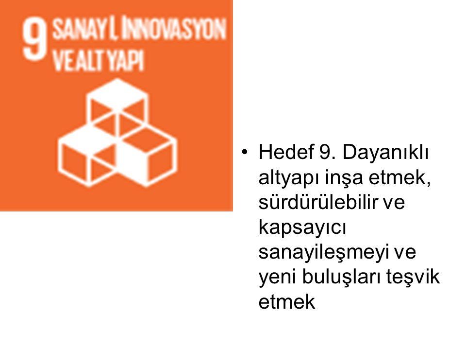 Hedef 9. Dayanıklı altyapı inşa etmek, sürdürülebilir ve kapsayıcı sanayileşmeyi ve yeni buluşları teşvik etmek