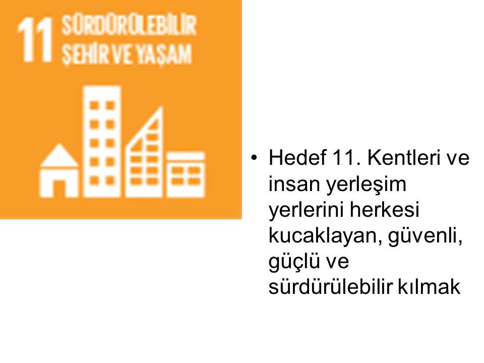 Hedef 11. Kentleri ve insan yerleşim yerlerini herkesi kucaklayan, güvenli, güçlü ve sürdürülebilir kılmak