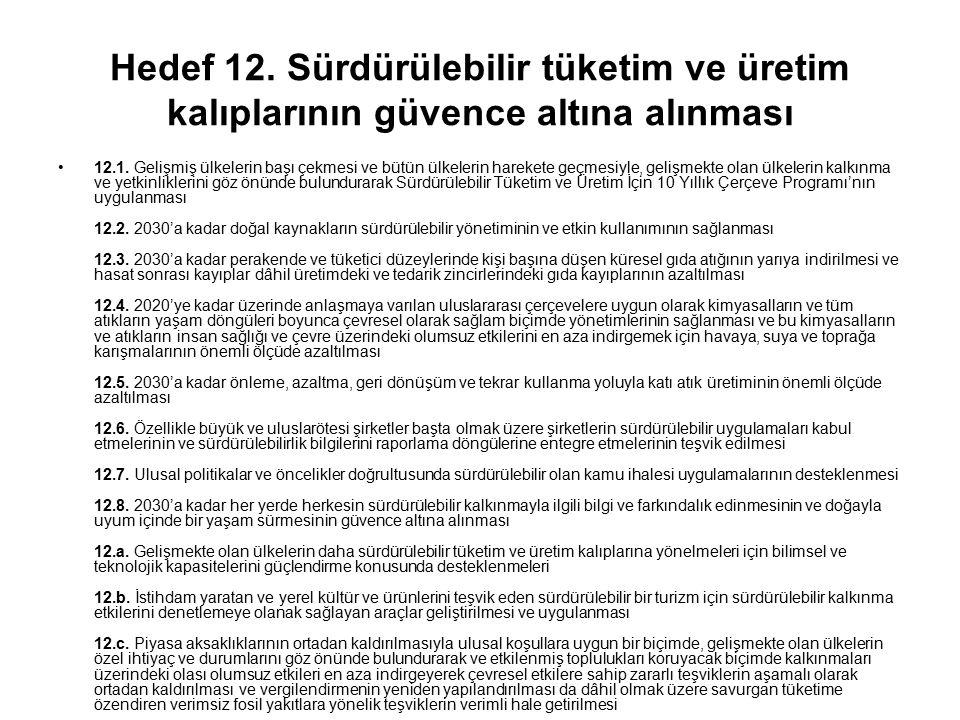 Hedef 12. Sürdürülebilir tüketim ve üretim kalıplarının güvence altına alınması 12.1. Gelişmiş ülkelerin başı çekmesi ve bütün ülkelerin harekete geçm