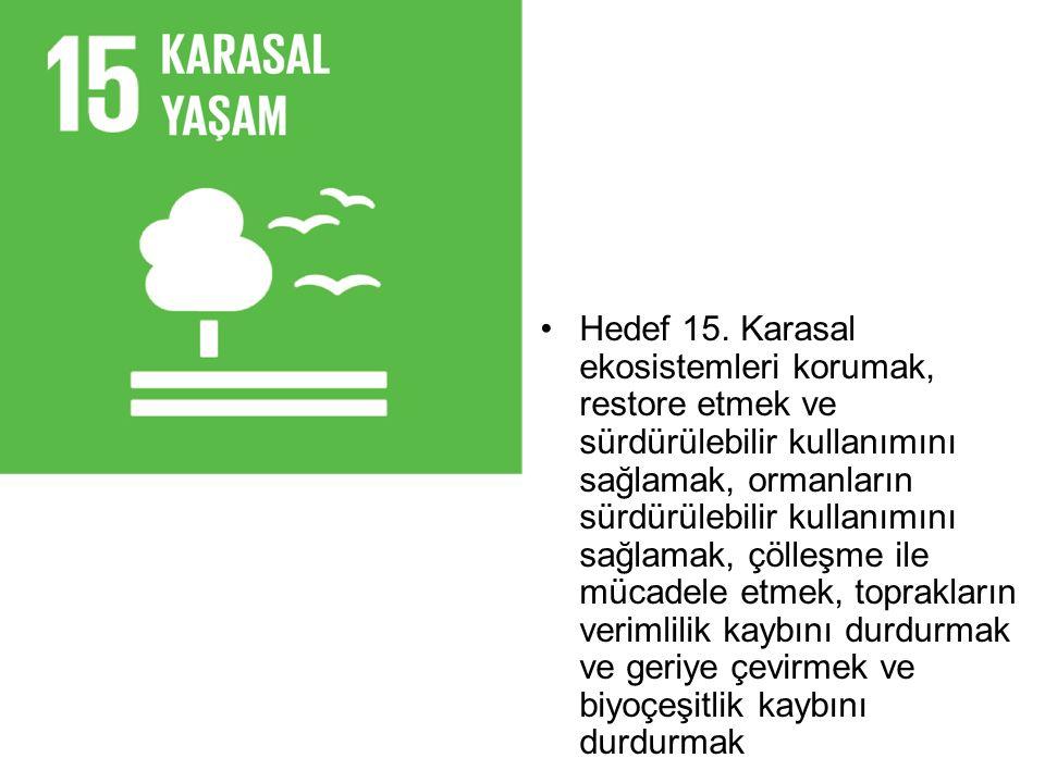 Hedef 15. Karasal ekosistemleri korumak, restore etmek ve sürdürülebilir kullanımını sağlamak, ormanların sürdürülebilir kullanımını sağlamak, çölleşm