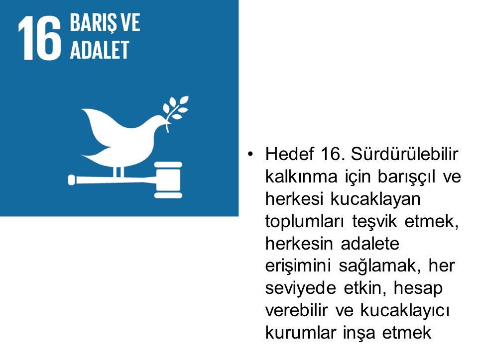 Hedef 16. Sürdürülebilir kalkınma için barışçıl ve herkesi kucaklayan toplumları teşvik etmek, herkesin adalete erişimini sağlamak, her seviyede etkin