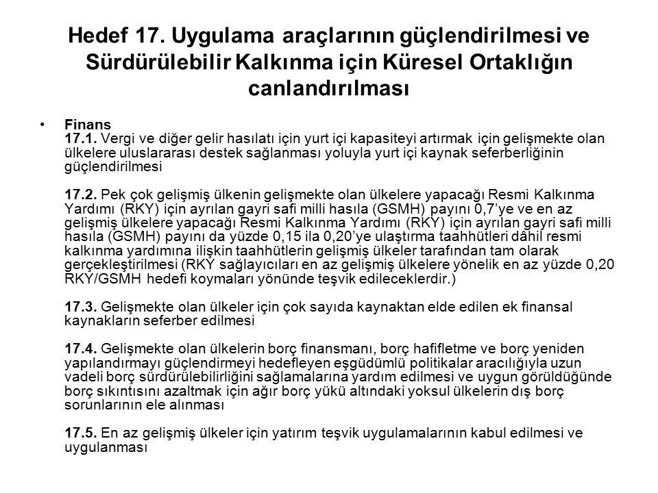 Hedef 17. Uygulama araçlarının güçlendirilmesi ve Sürdürülebilir Kalkınma için Küresel Ortaklığın canlandırılması Finans 17.1. Vergi ve diğer gelir ha