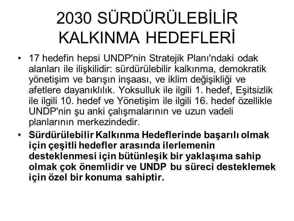 2030 SÜRDÜRÜLEBİLİR KALKINMA HEDEFLERİ 17 hedefin hepsi UNDP'nin Stratejik Planı'ndaki odak alanları ile ilişkilidir: sürdürülebilir kalkınma, demokra