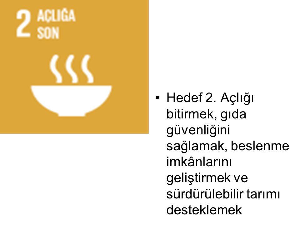 Hedef 2. Açlığı bitirmek, gıda güvenliğini sağlamak, beslenme imkânlarını geliştirmek ve sürdürülebilir tarımı desteklemek