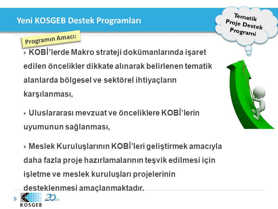 Yeni KOSGEB Destek Programları Tematik Proje Destek Programi Programın Kapsamı ve Hedef Kitle Çağrı Esaslı Tematik Programı KOBİ'lerMeslek Kuruluşları Meslek Kuruluşu Proje Destek Programı Meslek Kuruluşları