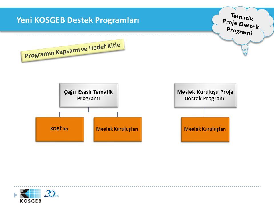 Yeni KOSGEB Destek Programları Tematik Proje Destek Programi Tematik Alan Belirleme Süreci Tematik Program Hedef Kitle Uygulama Alanı Uygulama Alanı Hedef Bilgileri Hedef Bilgileri İcra Komitesi Onayı Tematik Alan Bütçe