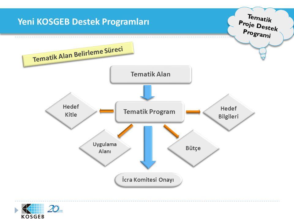 Yeni KOSGEB Destek Programları Tematik Proje Destek Programi Tematik Destek Programı Destek Unsurları