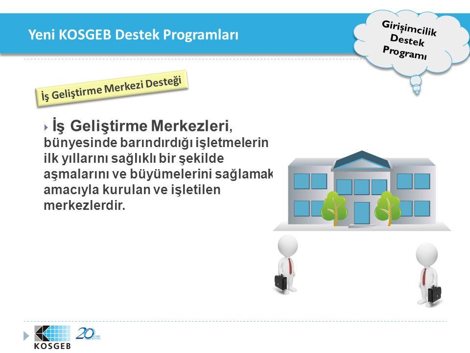 Yeni KOSGEB Destek Programları Girişimcilik Destek Programı İş Geliştirme Merkezi Desteği Destek Unsurları