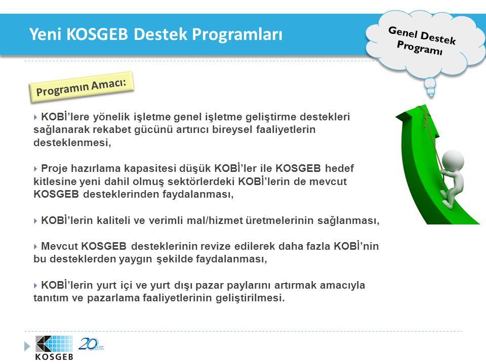 Yeni KOSGEB Destek Programları Program Destek Üst Limit ve Oranları Genel Destek Programı