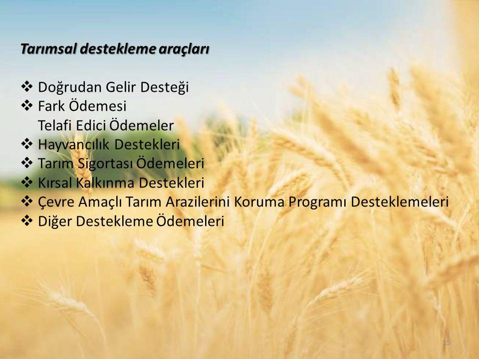 Tarımsal destekleme araçları  Doğrudan Gelir Desteği  Fark Ödemesi Telafi Edici Ödemeler  Hayvancılık Destekleri  Tarım Sigortası Ödemeleri  Kırsal Kalkınma Destekleri  Çevre Amaçlı Tarım Arazilerini Koruma Programı Desteklemeleri  Diğer Destekleme Ödemeleri 15