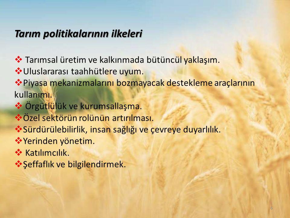 Tarım politikalarının ilkeleri  Tarımsal üretim ve kalkınmada bütüncül yaklaşım.