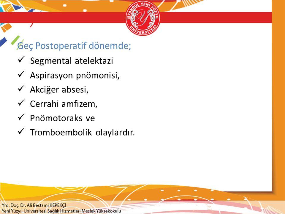 Geç Postoperatif dönemde; Segmental atelektazi Aspirasyon pnömonisi, Akciğer absesi, Cerrahi amfizem, Pnömotoraks ve Tromboembolik olaylardır.