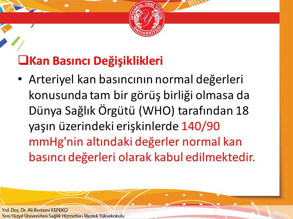  Kan Basıncı Değişiklikleri Arteriyel kan basıncının normal değerleri konusunda tam bir görüş birliği olmasa da Dünya Sağlık Örgütü (WHO) tarafından