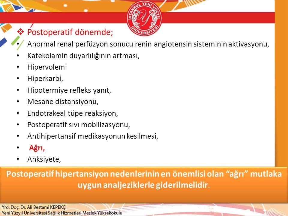  Postoperatif dönemde; Anormal renal perfüzyon sonucu renin angiotensin sisteminin aktivasyonu, Katekolamin duyarlılığının artması, Hipervolemi Hiper