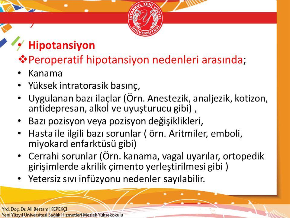 Hipotansiyon  Peroperatif hipotansiyon nedenleri arasında; Kanama Yüksek intratorasik basınç, Uygulanan bazı ilaçlar (Örn. Anestezik, analjezik, koti