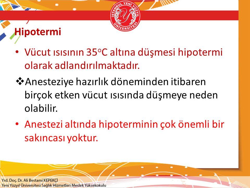 Hipotermi Vücut ısısının 35 o C altına düşmesi hipotermi olarak adlandırılmaktadır.  Anesteziye hazırlık döneminden itibaren birçok etken vücut ısısı