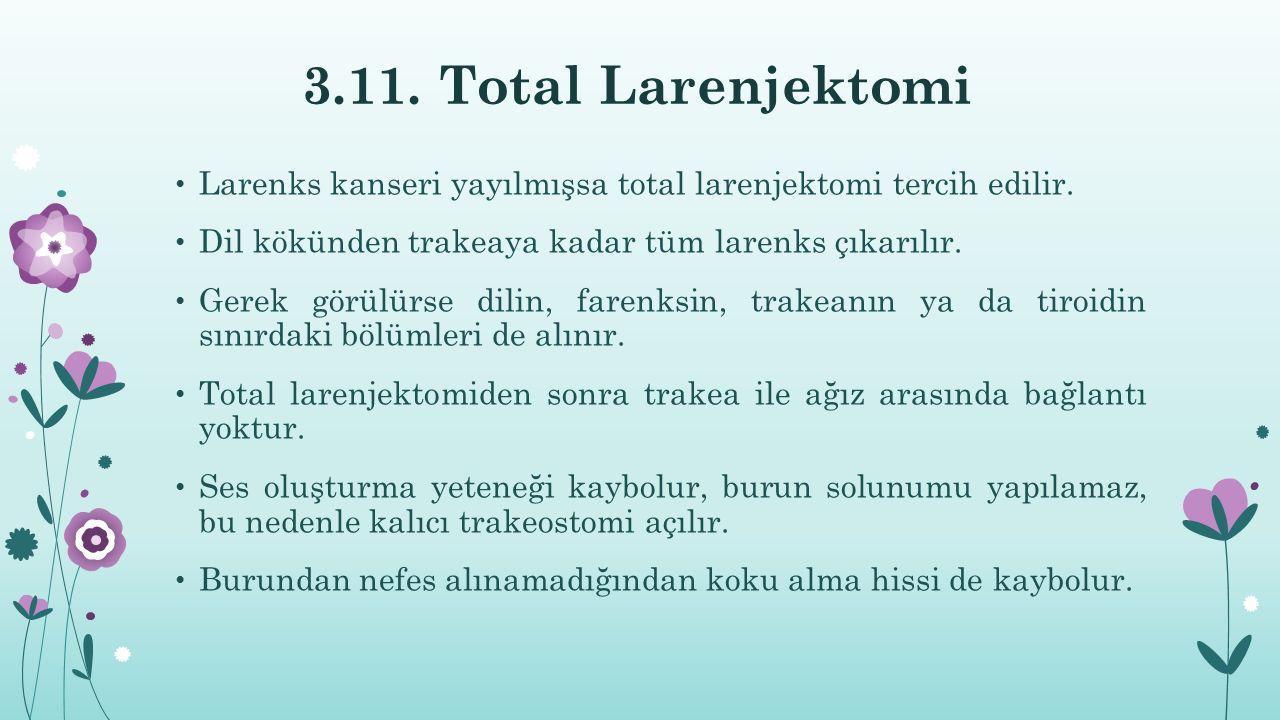 3.11. Total Larenjektomi Larenks kanseri yayılmışsa total larenjektomi tercih edilir. Dil kökünden trakeaya kadar tüm larenks çıkarılır. Gerek görülür