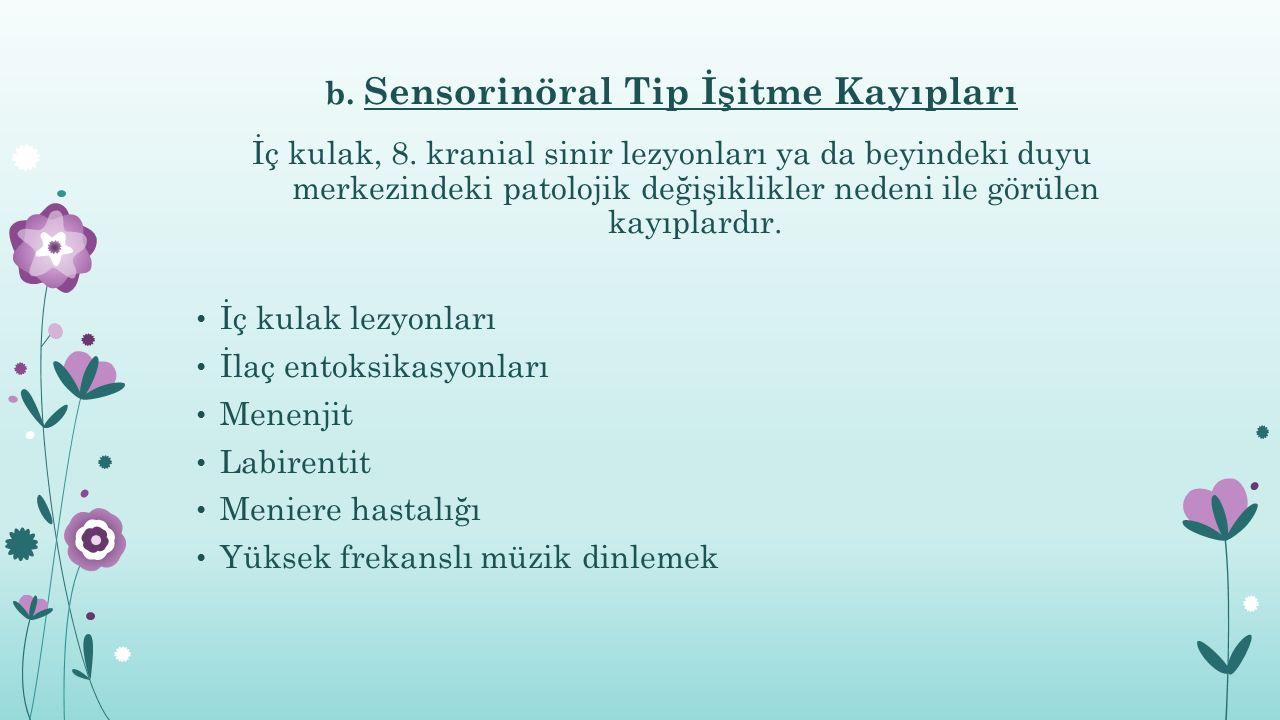 b. Sensorinöral Tip İşitme Kayıpları İç kulak, 8. kranial sinir lezyonları ya da beyindeki duyu merkezindeki patolojik değişiklikler nedeni ile görüle