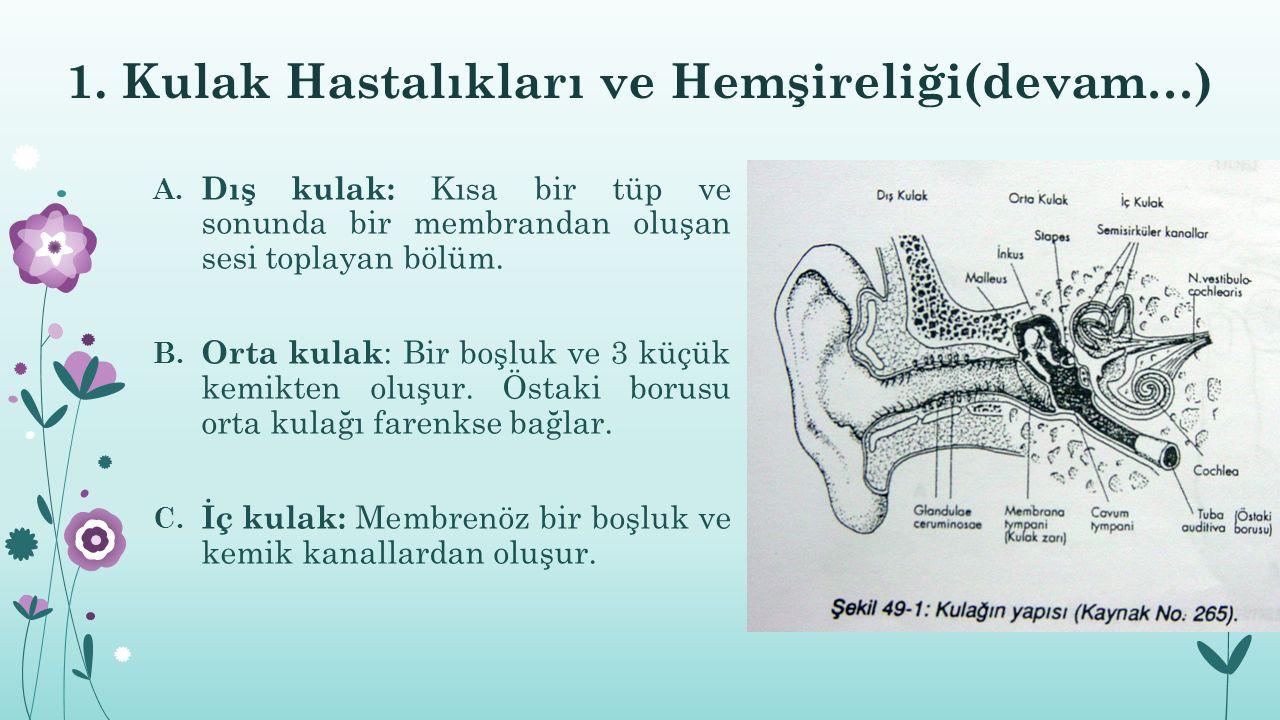 1. Kulak Hastalıkları ve Hemşireliği(devam…) A. Dış kulak: Kısa bir tüp ve sonunda bir membrandan oluşan sesi toplayan bölüm. B. Orta kulak : Bir boşl