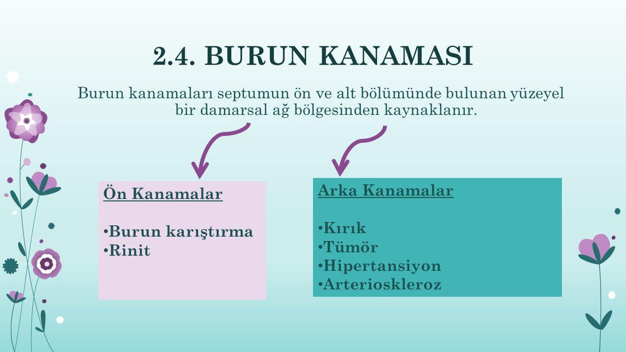 2.4. BURUN KANAMASI Burun kanamaları septumun ön ve alt bölümünde bulunan yüzeyel bir damarsal ağ bölgesinden kaynaklanır. Arka Kanamalar Kırık Tümör