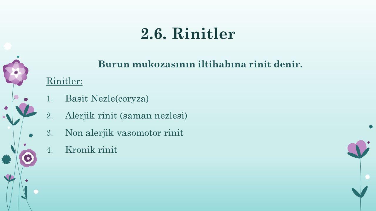 2.6. Rinitler Burun mukozasının iltihabına rinit denir. Rinitler: 1. Basit Nezle(coryza) 2. Alerjik rinit (saman nezlesi) 3. Non alerjik vasomotor rin