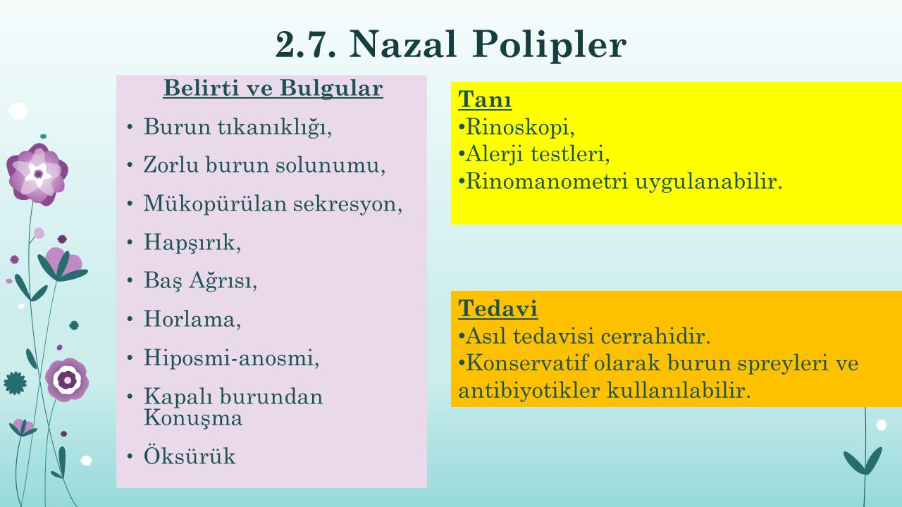 2.7. Nazal Polipler Belirti ve Bulgular Burun tıkanıklığı, Zorlu burun solunumu, Mükopürülan sekresyon, Hapşırık, Baş Ağrısı, Horlama, Hiposmi-anosmi,