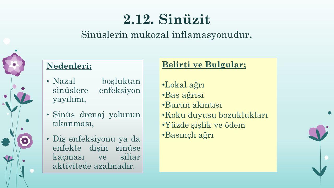 2.12.Sinüzit Sinüslerin mukozal inflamasyonudur.