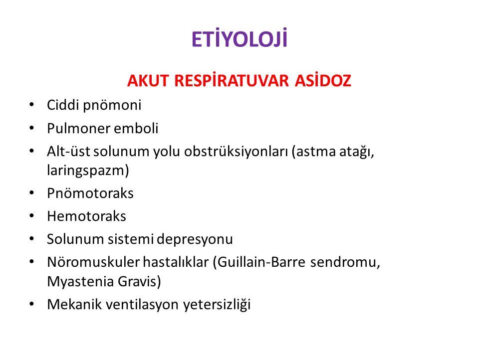 ETİYOLOJİ AKUT RESPİRATUVAR ASİDOZ Ciddi pnömoni Pulmoner emboli Alt-üst solunum yolu obstrüksiyonları (astma atağı, laringspazm) Pnömotoraks Hemotoraks Solunum sistemi depresyonu Nöromuskuler hastalıklar (Guillain-Barre sendromu, Myastenia Gravis) Mekanik ventilasyon yetersizliği