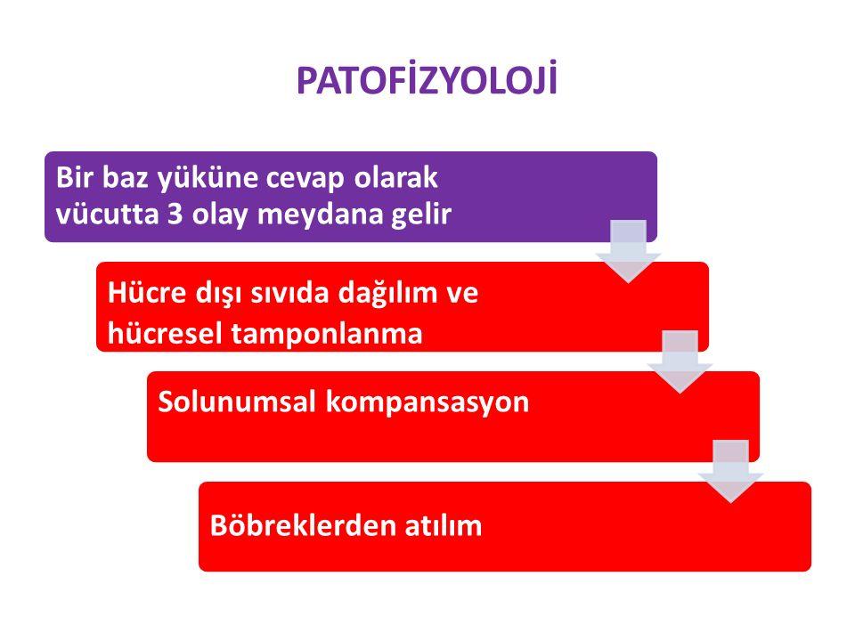 PATOFİZYOLOJİ Metabolik alkalozda iki önemli mekanizma söz konusudur; (1) Plazma HCO 3 konsantrasyonunu artırarak ALKALOZUN OLUŞUMUNA neden olan faktörler (2) Bu artmış HCO 3 ' nin idrarla atılımını önleyen ve böylece ALKALOZUN İDAMESİNİ sağlayan faktörler