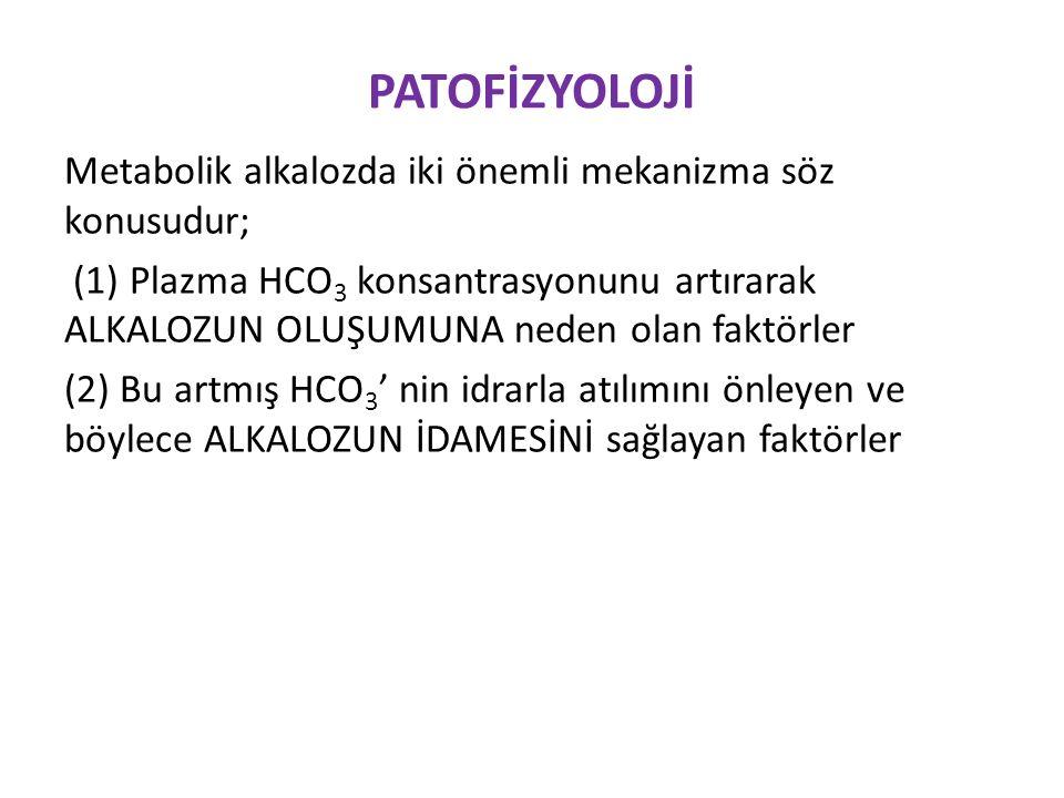 TEDAVİ Ödemli durumlarda * Asetazolamid (SF kontrendike) * IV hidroklorik asit √ HCO 3 fazlalığı: 0.5 x VA x (plazma HCO 3 -24) √ İzotonik solüsyon ile 8-24 saatte verilir √ Koroziv olduğu için santral venöz yolla verilmeli