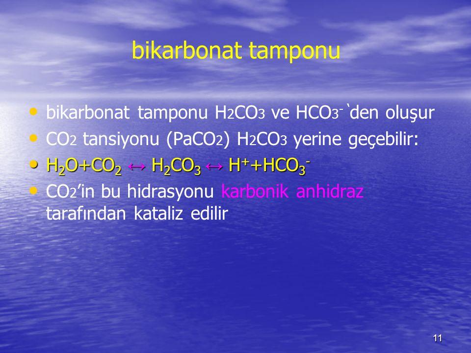 11 bikarbonat tamponu bikarbonat tamponu H 2 CO 3 ve HCO 3 - ' den oluşur CO 2 tansiyonu (PaCO 2 ) H 2 CO 3 yerine geçebilir: H 2 O+CO 2 ↔ H 2 CO 3 ↔