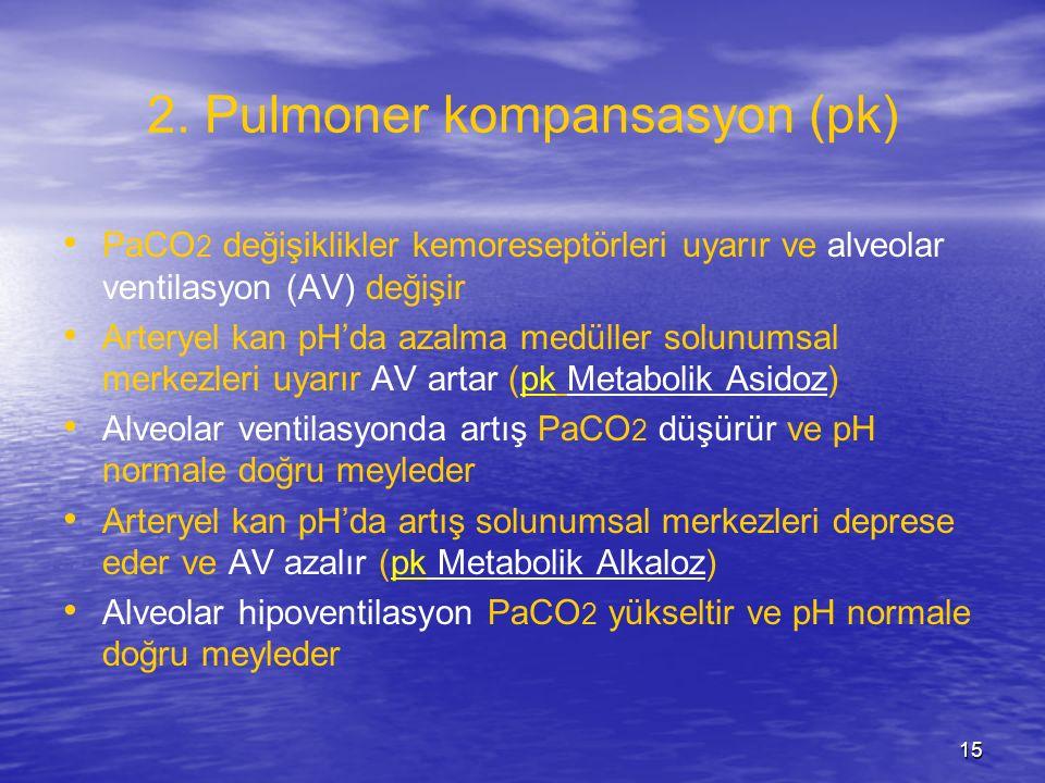 15 2. Pulmoner kompansasyon (pk) PaCO 2 değişiklikler kemoreseptörleri uyarır ve alveolar ventilasyon (AV) değişir Arteryel kan pH'da azalma medüller