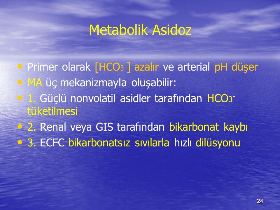 24 Metabolik Asidoz Primer olarak [HCO 3 - ] azalır ve arterial pH düşer MA üç mekanizmayla oluşabilir: 1. Güçlü nonvolatil asidler tarafından HCO 3 -