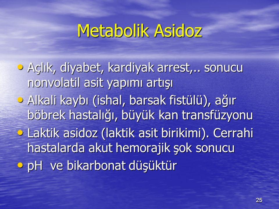 25 Metabolik Asidoz Açlık, diyabet, kardiyak arrest,.. sonucu nonvolatil asit yapımı artışı Açlık, diyabet, kardiyak arrest,.. sonucu nonvolatil asit