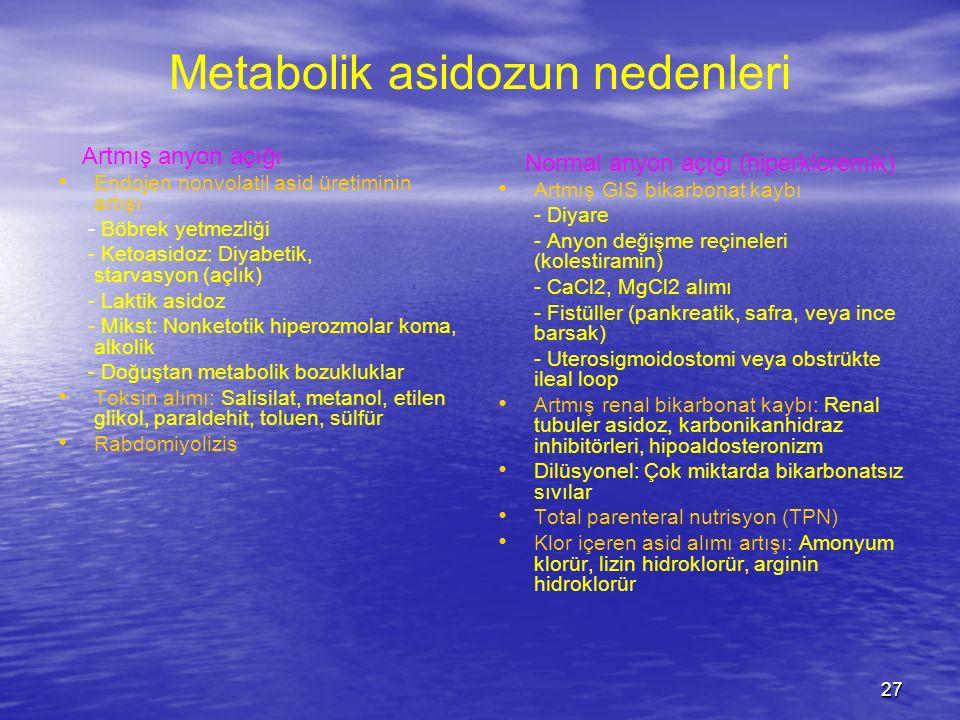 27 Metabolik asidozun nedenleri Artmış anyon açığı Endojen nonvolatil asid üretiminin artışı - Böbrek yetmezliği - Ketoasidoz: Diyabetik, starvasyon (