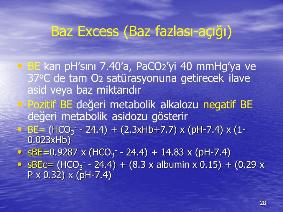 28 Baz Excess (Baz fazlası-açığı) BE kan pH'sını 7.40'a, PaCO 2 'yi 40 mmHg'ya ve 37 o C de tam O 2 satürasyonuna getirecek ilave asid veya baz miktar