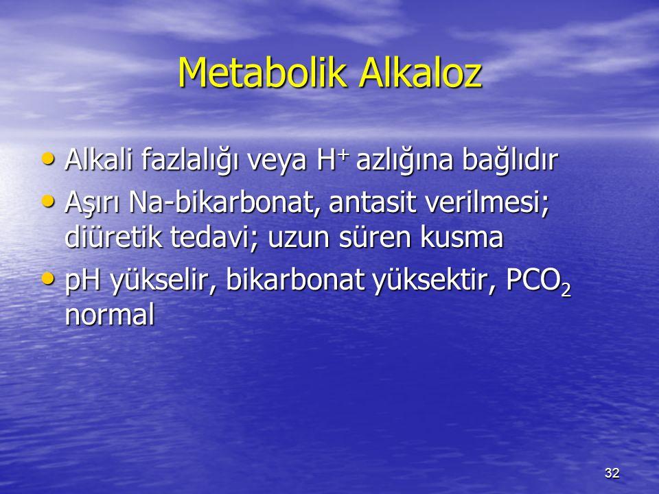 32 Metabolik Alkaloz Alkali fazlalığı veya H + azlığına bağlıdır Alkali fazlalığı veya H + azlığına bağlıdır Aşırı Na-bikarbonat, antasit verilmesi; d
