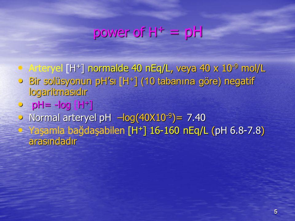 5 power of H + = pH H + ] normalde 40 nEq/L, veya 40 x 10 -9 mol/L Arteryel [H + ] normalde 40 nEq/L, veya 40 x 10 -9 mol/L Bir solüsyonun pH'sı H + ]