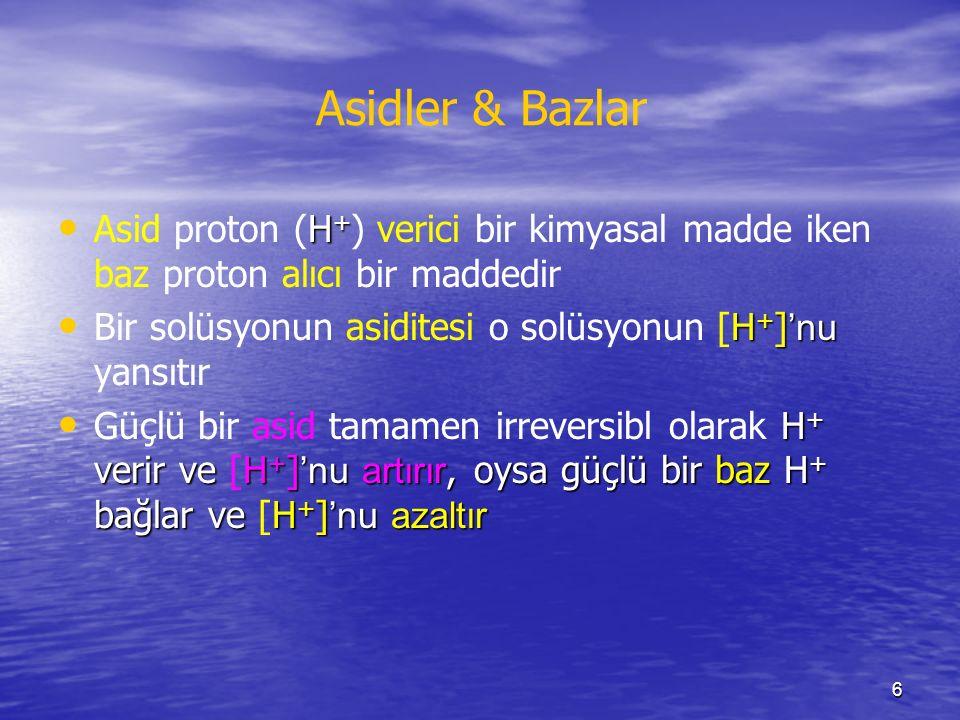 6 Asidler & Bazlar H + Asid proton (H + ) verici bir kimyasal madde iken baz proton alıcı bir maddedir H + ] 'nu Bir solüsyonun asiditesi o solüsyonun