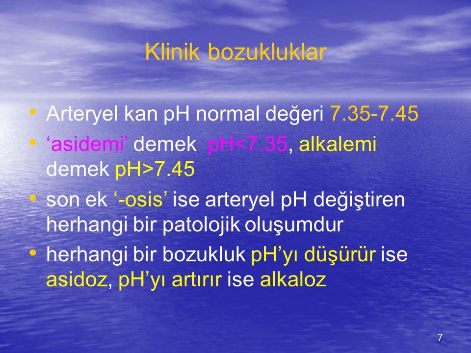 7 Klinik bozukluklar Arteryel kan pH normal değeri 7.35-7.45 'asidemi' demek pH 7.45 son ek '-osis' ise arteryel pH değiştiren herhangi bir patolojik