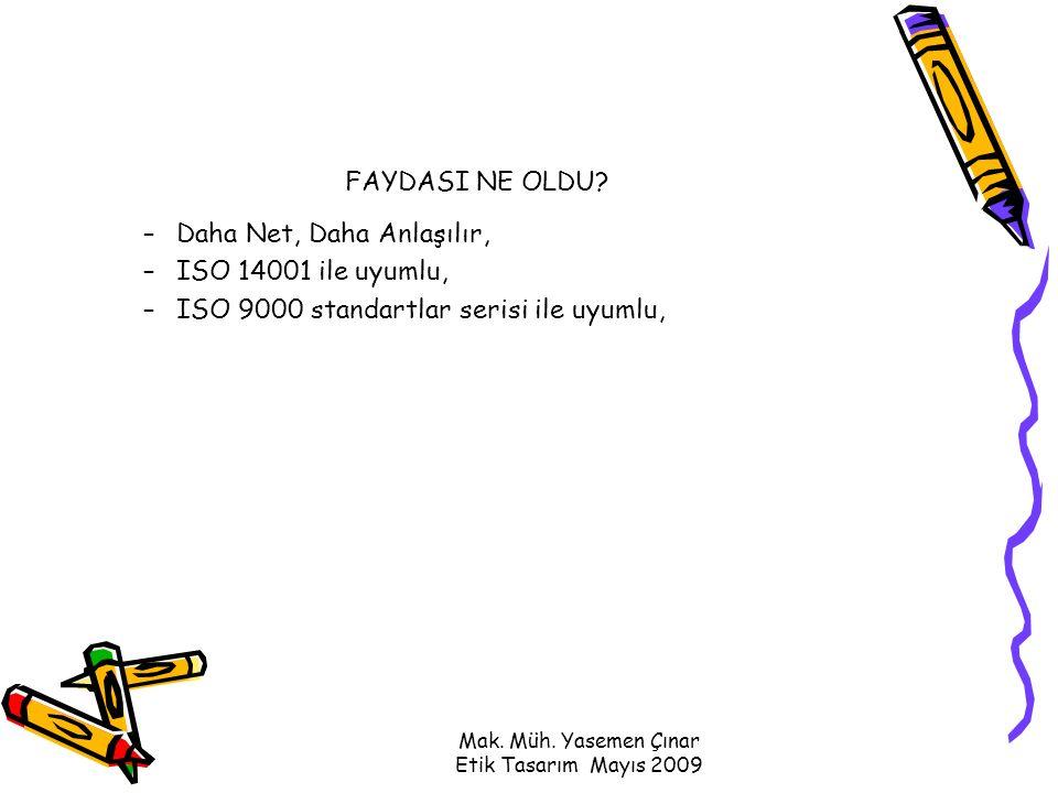Mak. Müh. Yasemen Çınar Etik Tasarım Mayıs 2009 FAYDASI NE OLDU.
