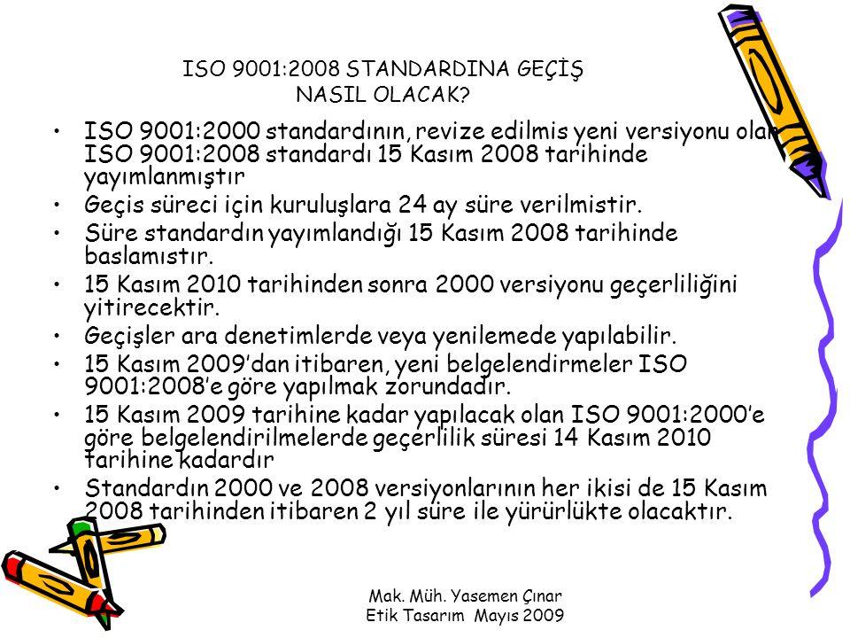 Mak. Müh. Yasemen Çınar Etik Tasarım Mayıs 2009 ISO 9001:2008 STANDARDINA GEÇİŞ NASIL OLACAK.